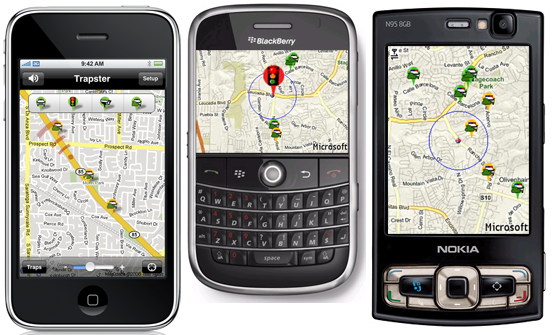 trapster avertisseur de radar pour mobiles iphone blackberry symbian et windows mobile anti. Black Bedroom Furniture Sets. Home Design Ideas