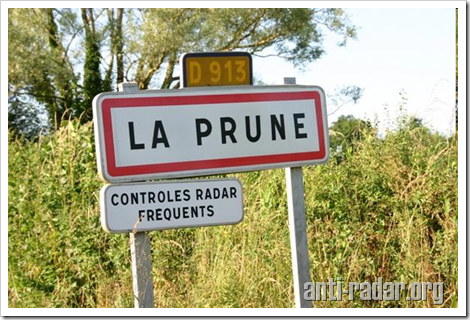controle radar frequents commune de la prune